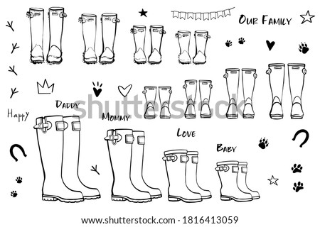 Family concept with rain rubber boots. Black and white line art wellies collection. Rubber boots autumn fall concept. Vector linear illustration. Decoration family card on white background. Photo stock ©