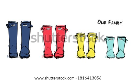 Family concept with rain rubber boots. Blue red yellow wellies collection. Rubber boots autumn fall concept. Vector linear illustration. Decoration family card on white background. Photo stock ©