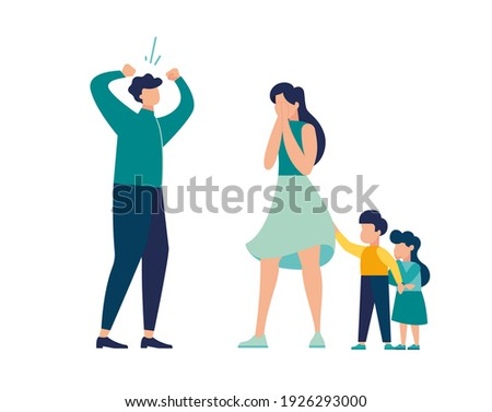 Family conflict. Angry, unhappy people. Divorce or quarrel of a couple, domestic violence between husband and wife. Scold abuse, frightened children, vector illustration  Stock photo ©