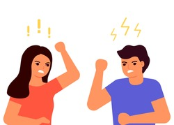 Family conflict, dispute, quarrel, crisis. Domestic couple violence, bullying, abuse. Aggressive behavior of adults, social problems. Man and woman are scream. Vector flat illustration