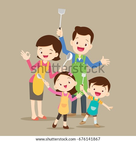family cooking meal kitchen with dad ,mom ,daughter, son enjoys cooking vector cartoon illustration.Cute happy parents and children chef.