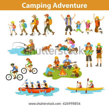 Family, couple, children camping, rafting, hiking, sitting at campfire, make photos of animals, kayaking, mountain biking, planning trip looking at map and tablet, jumping, fishing.