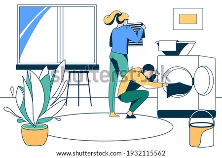 Family couple doing housework together. Husband loading laundry to washing machine. Household chores, laundry, housekeeping concept vector illustration Foto stock ©