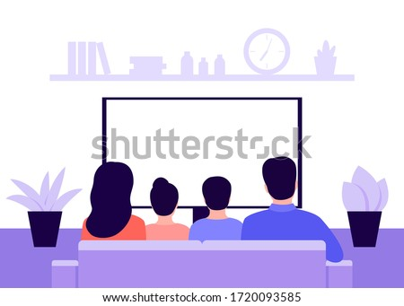 Family couple man, woman and children sitting on sofa at home and watching TV news, back view. Living room interior. Rest, recreation, spending time on isolation and quarantine. Vector illustration