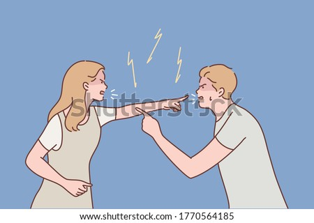 Family, couple, quarrel, divorce, aggression, conflict concept. Young aggressive man boyfriend and woman girlfriend parents yelling and quarrelling. Crisis marriage problem trouble and disagreement. Stock photo ©