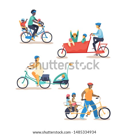 Family cycling on different cargo bike types. Parents cycling together with young children. Parent bike with child seats, boxbike, bike with trailer, longtail. Flat vector illustration.