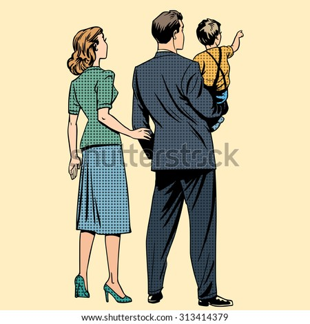 Family dad mom son baby boy back. Man and woman in retro pop art style