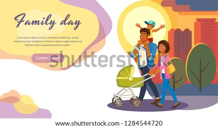 Family Day Out Cartoon Vector Horizontal Web Banner or Landing Page with Happy African-American Parents Strolling Baby Carriage, Walking With Kids on City Street Illustration. Family evening stroll