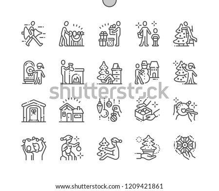 Family decorates the Christmas home Well-crafted Pixel Perfect Vector Thin Line Icons 30 2x Grid for Web Graphics and Apps. Simple Minimal Pictogram