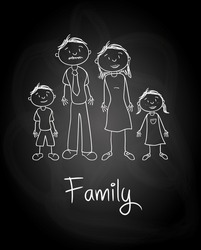 family design over blackboard  background vector illustration