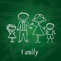 family design over green board  background vector illustration