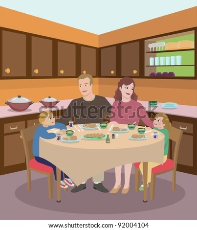 family dining in the kitchen