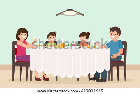 Vector Images Illustrations And Cliparts Family Dinner Cartoon Characters Father Mother Son And Daughter Having Meal Together Flat Style Isolated Vector Illustration Hqvectors Com