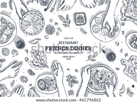 Family dinner top view illustration. Dinner table background. Engraved style illustration. Hero image. Vector illustration #465796862