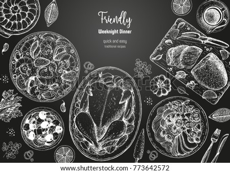 Family dinner top view, vector illustration. Friendly dinner table. Engraved style background. Hand drawn sketch, design template.