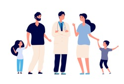Family doctor. Big healthy family with therapist. Parents kids patients and physician. Healthcare and dental service vector concept. Illustration of doctor and therapist give advice family