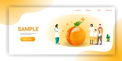 family doctor nutritionist explaining to patients properties of peach fruit healthy lifestyle nutrition medical consultation concept horizontal copy space full length vector illustration