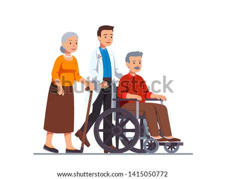 Family doctor or nurse pushing wheelchair with sick or disabled old man next to his aged wife walking with cane. Elderly people family couple receiving help & care. Flat vector character illustration