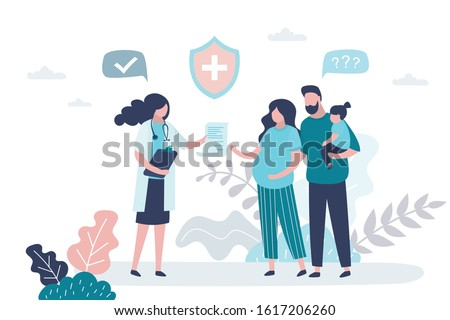 Family doctor. Pregnant woman at the gynecologist's appointment. Consultation and recommendations of a physician. Prenatal medicine,female and male characters. Trendy vector illustration