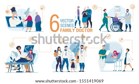 Family Doctor Work Trendy Flat Vector Scenes Set. Parents with Kids Visiting Pediatrician, Nurse and Old Man on Wheelchair, Doctor Screening Pregnant Woman, Advising Senior Couple Online Illustration