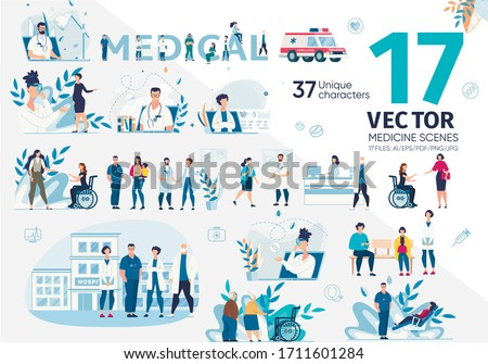 Family Doctors, Medical Specialists, Hospital Nurses, Various Patients, Disabled and Senior People Trendy Flat Vector Characters Set. Hospital Personnel, Online Counseling, Emergency Help Illustration