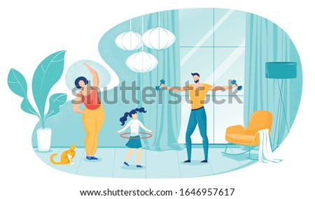 Family Doing Morning Exercises at Home Flat Cartoon Vector Illustration. Father Training with Dumbbell in Hands, Daughter with Hula Hoop, Mother Working out. Having Healthy Lifestyle.