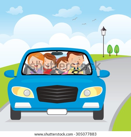 family driving in car on