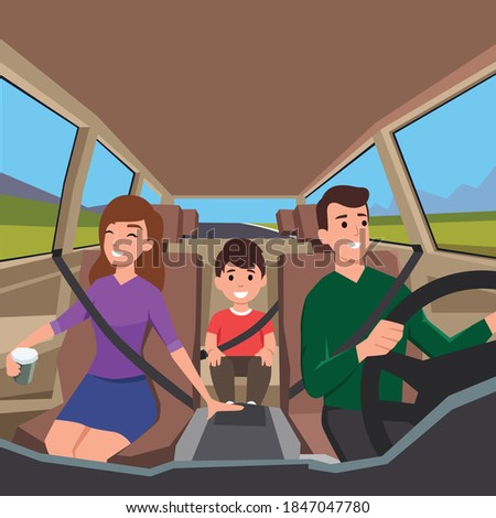 family driving to a road trip. View from interior of the car with father,mother, and their son sitting happily wearing seatbelt. Flat vector illustration Foto stock ©