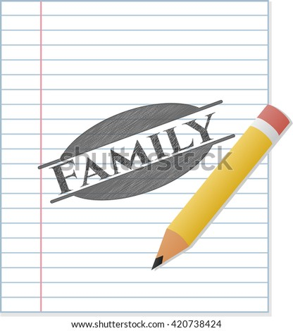 Family emblem drawn in pencil