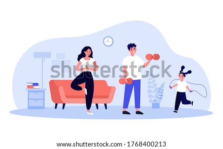 Family exercising at home. Parents and kid doing yoga, lifting weight, jumping rope in living room interior. Vector illustration for lockdown, activity, body training, indoor workout concept
