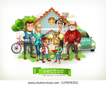 Family. Father, mother, grandmother, grandfather, son, daughter. House. 3d vector