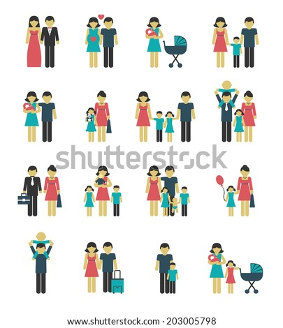 Family figures icons set of parents children married couple isolated vector illustration