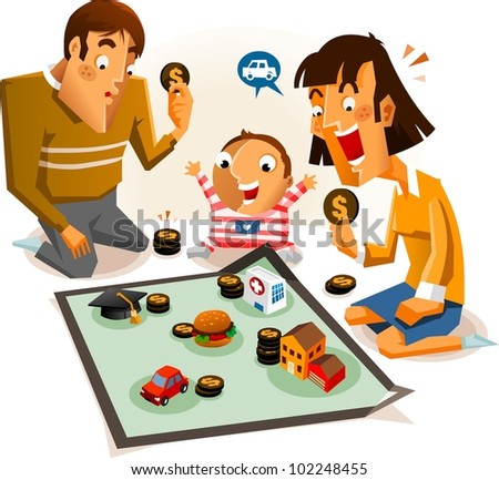 Family Financial Planning. Vector Illustration
