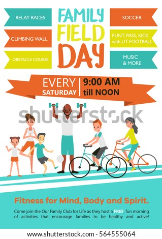 Family fitness template with active healthy sport parents and children in flat style vector illustration