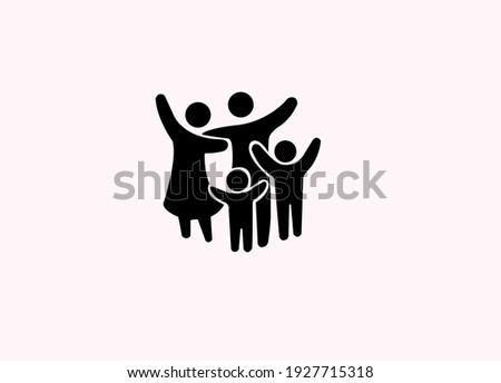 Family Flat Icon Black and candy pink Vector Graphic.Family concept.