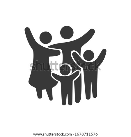 Family Flat Icon Black and White Vector Graphic