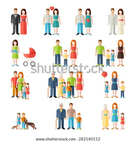 Family flat icons set with married couples parents and children isolated vector illustration