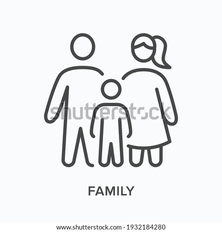 Family flat line icon. Vector outline illustration of male ,female and kid. Black thin linear pictogram for adult people.