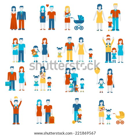 Family flat style people figures parenting parents children kids son daughter couple wife husband boy girl infant infographics user interface profile icons set isolated vector illustration collection