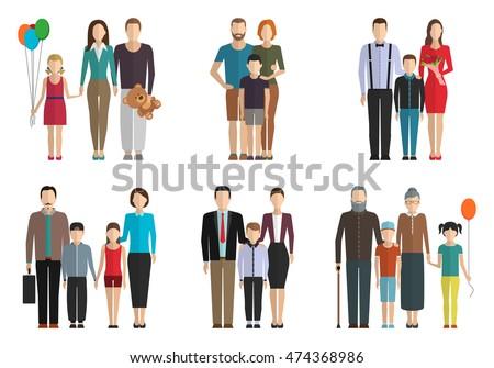 Family flat vector set