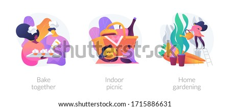 Family fun during quarantine abstract concept vector illustration set. Bake together, indoor picnic, home gardening, baking with children, eco gardening, indoor activities ideas abstract metaphor.