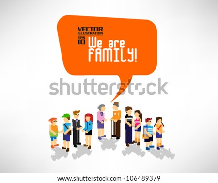 family gathering together vector icon design