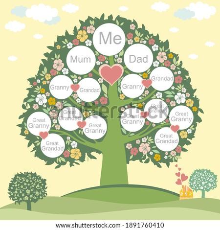 Family genealogic tree. Parents and grandparents, children.  Genealogy, pedigree.  Cartoon character. Family Tree template vector illustration