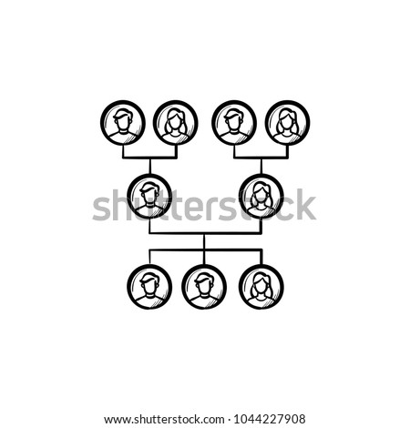 Family genealogical tree hand drawn outline doodle icon. Vector sketch illustration of family genealogical tree for print, web, mobile and infographics isolated on white background.
