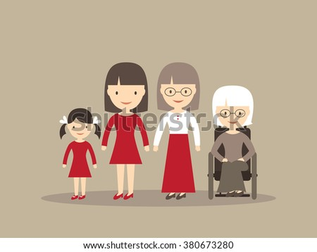 Family generation - young and senior women