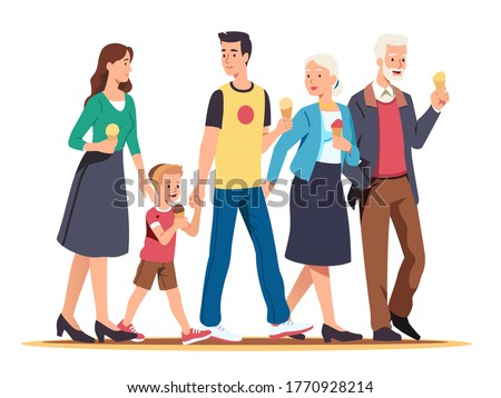 Family generations walk together. Amicable parents, grandparents couples and kid enjoying eating ice-cream, holding hands. People relaxing activity on a weekend. Flat vector character illustration