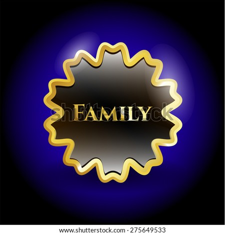 Family gold shiny badge with blue background