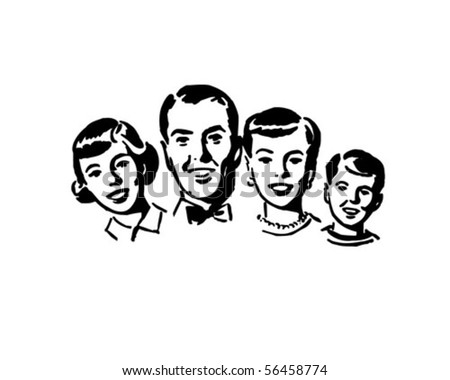 Family Group - Retro Clip Art - stock vector