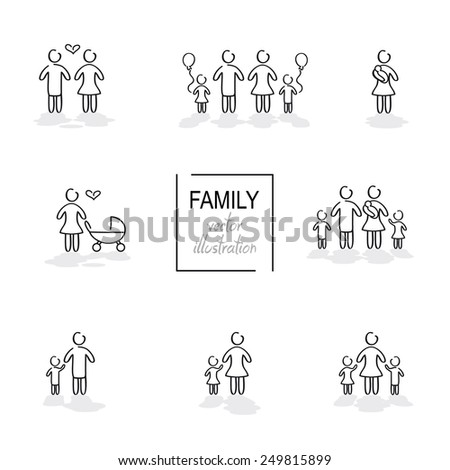 Family hand drawn icons in vector