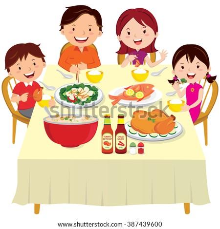 Family having dinner. Chinese New Year dinner isolated.